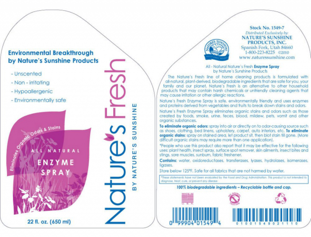 Nature's Fresh Enzyme Spray label